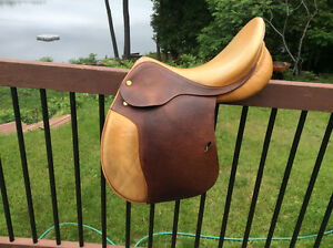 "17.5"" Prestige Hippos Jumping Saddle, Narrow, Suit High Withers"