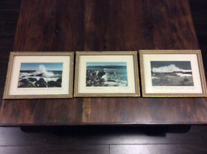 3 vintage framed photographs by E A Whynot