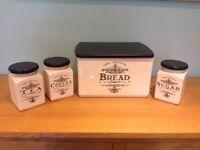 Cream coloured Bread, Coffee, Tea and Sugar canisters