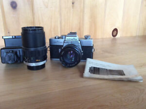 1974 Minolta SRT 102 Film Camera and Telephoto Lens, Flash