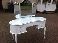 French Louis Shabby Chic Kidney Shape Dressing Table Queen Anne