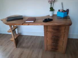 Executive pedestal oak office desk waney/live edge Matt Lane design.