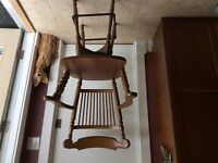 Solid wood tall swivel chair.