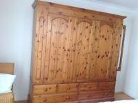 Large pine wood wardrobe