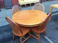 Circular Beech Dining Table and four chairs