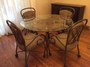 Round Glass/Metal Dining Table and 4 Chairs