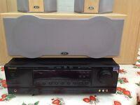 Sherwood amplifier with Eltax cinema surround sound system bundle.