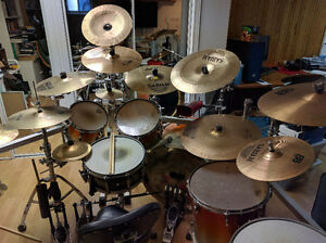 Pearl Masters kit with cage, cymbals, double pedal and more