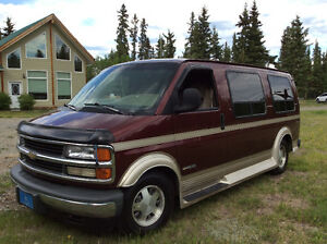 1997 Chevrolet Signature Van, Burgundy/metallic gold trim.