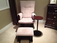 Gliding Rocking chair with ottoman and side table