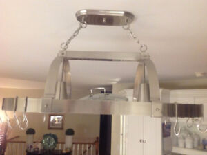 Stainless Steel Kitchen Island Pot Rack with Lights