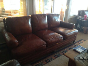 Leather Couch, matching chair and ottoman