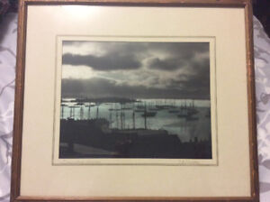 "J. E Knickle framed colour photo ""Lunenburg Sunrise"""