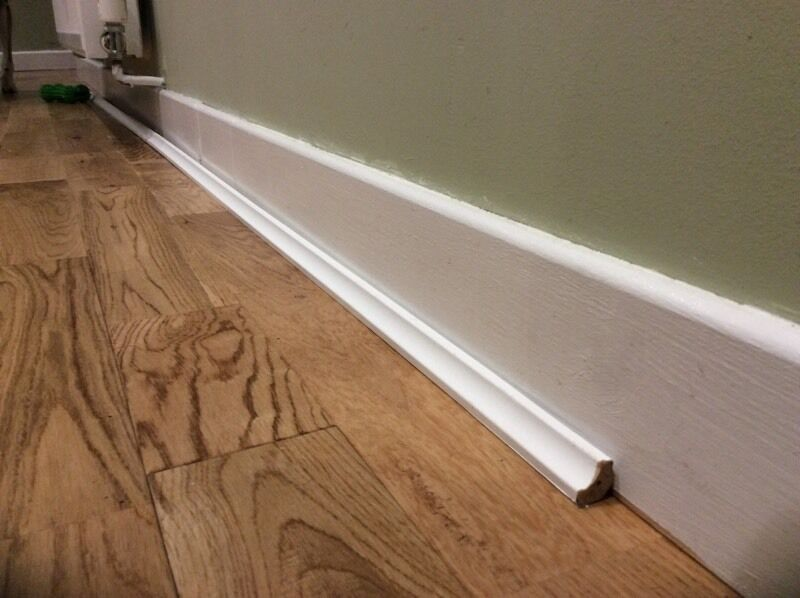 White Wooden Floor Edging Beading In Juniper Green