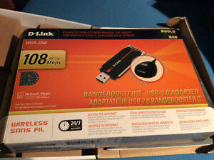 D-Link WUA-2340 RangeBooster G USB Adapter - NOT USED IN BOX