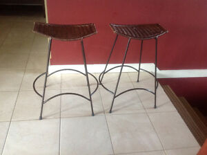 2 Counter height Wicker Bar Stools