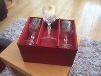 H Samuel crystal sherry glasses