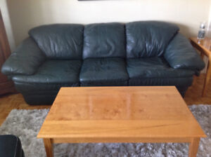 Hunter Green Leather Couch, Chair, & Ottoman