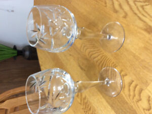 Crystal candle holders and wineglasses