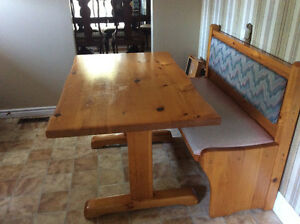 Table, bench, 4 chairs