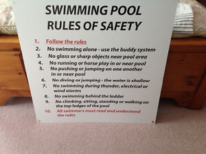 Large professionally made pool rules sign