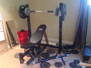 Pro Olympic Bench Press / Squat Rack + 100lbs Weights + Bar