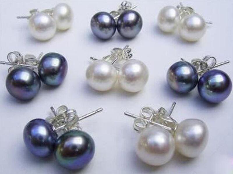 8 Pairs Natural White Black 7-8MM Akoya Cultured Pearl Silver Stud Earrings AAA