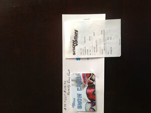 Snow Valley gift card $103.96 value