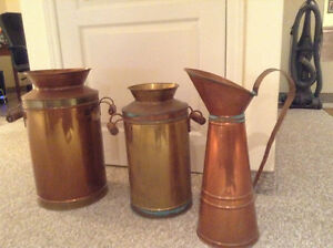 Copper  milk jug cand brass milk can
