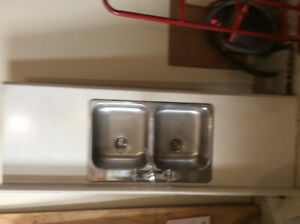 Double Stainless Sink, Tap and Countertop