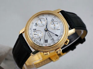TISSOT BRIDGEPORT CHRONOGRAPH 14K GOLD WITH DATE GUILLOCHET DIAL