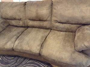 Green microfiber couch and chair can deliver