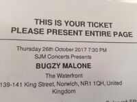 One Ticket for Bugzy Malone at the Waterfront Norwich 26th October