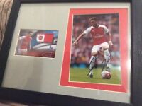 Arsenal mesut ozil autograph and Match worn relic card framed and mounted