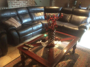 Leather L-shaped sofa  with 2 reclining ends.  & matching chair