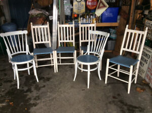 6 Painted Vintage Wood Chairs