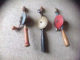 Vintage hand drills x 3
