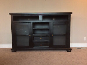Solid Wood Antiqued Black Media Console