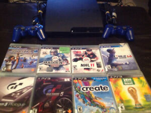 Playstation 3 With 2 Controllers and 8 Child Friendly Games