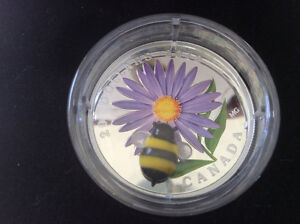 2012 Canada Silver $20 Coin Venetian Glass Aster w BUMBLE BEE