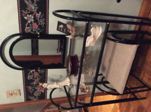 Modern Black Chrome 2 Tier Vanity Set with Stool and Mirror