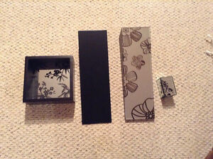 4 piece set wall accent expresso and mirror