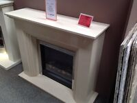 """Marble Mantel in Coral Cream with matching Backpanel and Hearth and A 22"""" Electric Fire"""