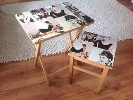 Audrey Hepburn Wooden Folding Table & Stool