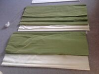 2 ROMAN BLINDS-GREEN AND CREAM FAUX SILK - 130cm wide 290cm long