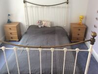 White and Brass solid metal antique style Headboard And Footboard surround for Double bed.