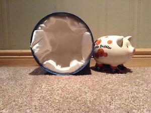 """Ceramic basketball piggy bank entitled """"Little Dribbler"""" + box"""