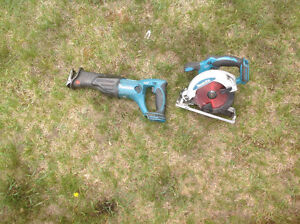 Makita 18 volt LXT recip and circular saw bare tools