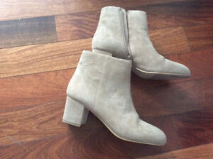Beige suede leather boots