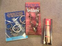 Two bead working books and mosaic leather bracelet making kit